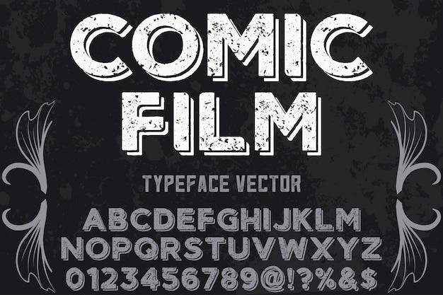 Filme de banda desenhada de desenho de fonte de alfabeto vintage
