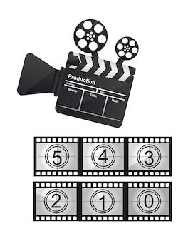 Filme de ripa e câmera de vídeo