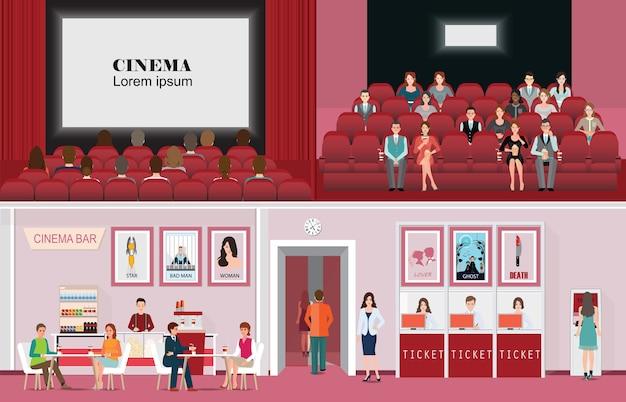 Filme de salão de cinema e audiência.