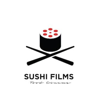 Filme de sushi premium design de logotipo da studio movie production