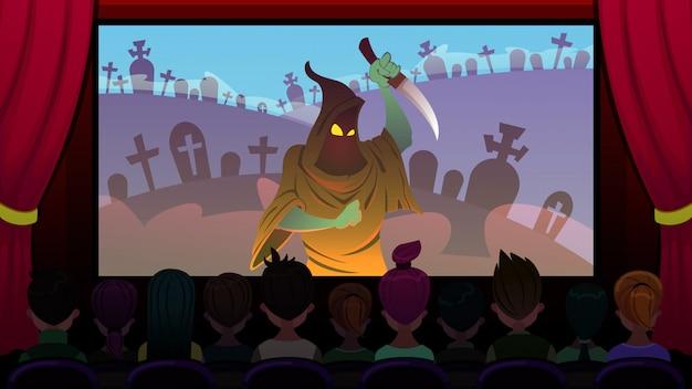 Filme de terror é mostrado na tela em cinema cartoon.