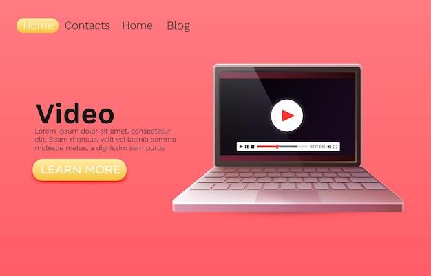 Filme de vídeo para laptop, aplicativo de player online, site da web