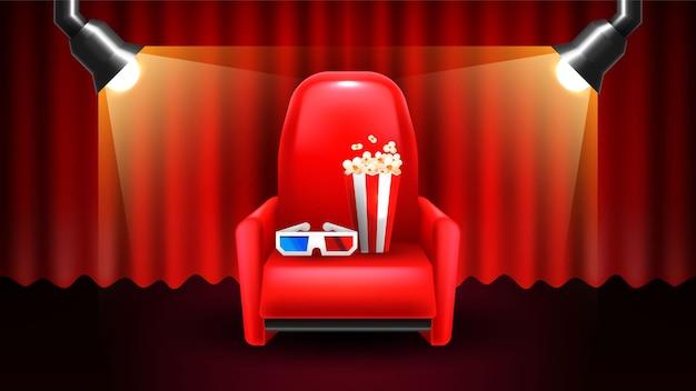 Filme em casa. cortinas e assentos de cinema