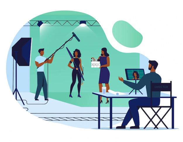 Filme fazendo processo ilustração em vetor plana