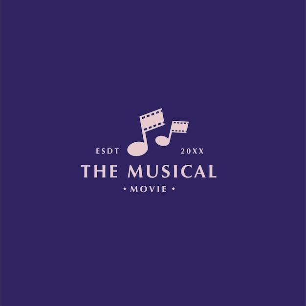 Filme musical moderno abstrato e logotipo do filme com rolo de filme e formato de tom