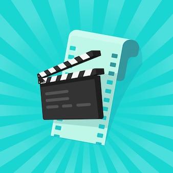 Filme ou cinema on-line conceito plana dos desenhos animados