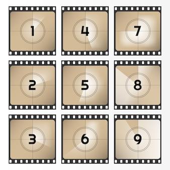 Filme retrô vintage. quadro de contagem regressiva de 0 a 9. ilustração da contagem regressiva do filme. filme antigo. ilustração.