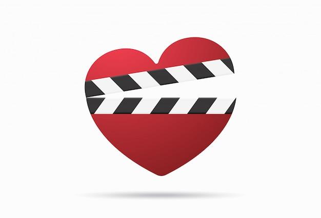 Filme romântico com badalo de coração isolado. ilustração