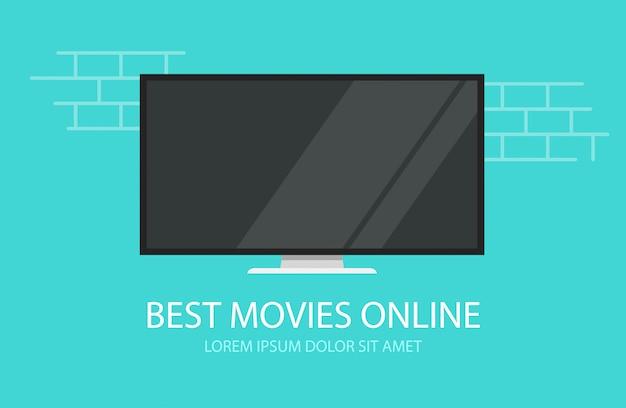 Filmes de vídeo on-line ou banner de ilustração plana dos desenhos animados de cinema tv