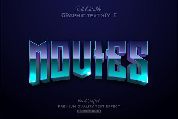 Filmes dos anos 80 editable text style effect premium