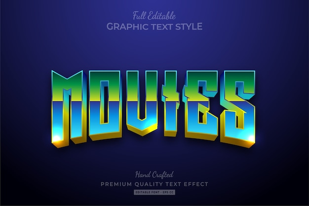 Filmes dos anos 80 retro gradient editable text style effect premium