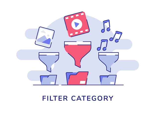 Filtro categoria conceito imagem vídeo-música no funil pasta de arquivos branco isolado fundo
