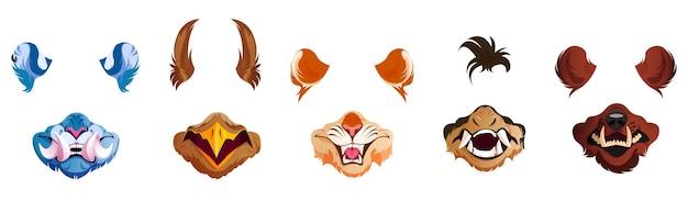 Filtros de rosto com máscaras de animais para selfie Vetor grátis