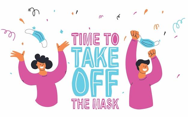 Fim da pandemia hora de tirar a máscara pessoas jogam máscaras de proteção bloqueio off