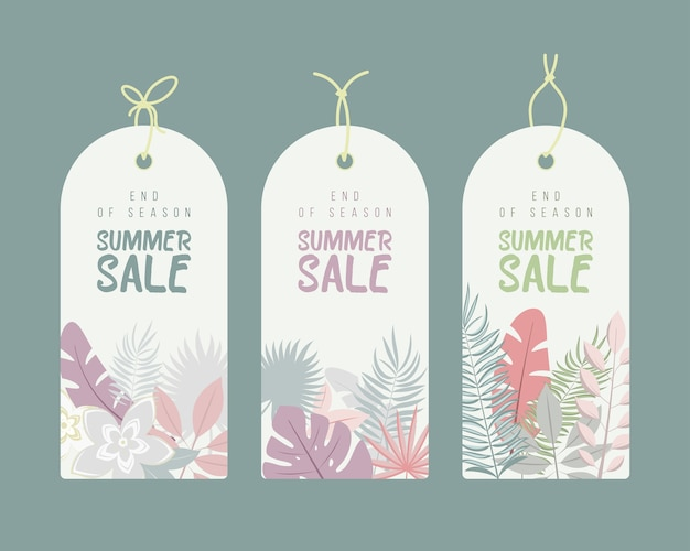 Fim da temporada. conjunto de etiquetas de venda de calligraphyc desenhadas a mão de verão. lindos pôsteres de verão com folhas de palmeira, texturas e textos manuscritos. etiquetas de moda. Vetor Premium