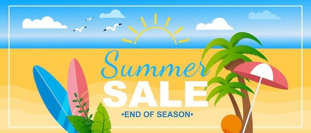 Fim da temporada de verão banner de vendas lettering marketing promotion