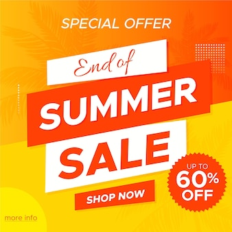 Fim da temporada verão venda oferta especial banner