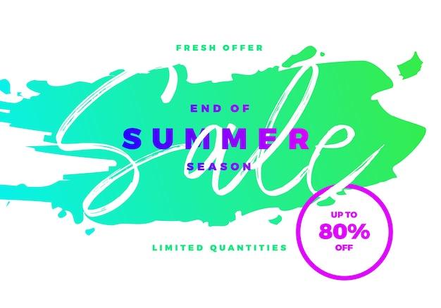 Fim da venda de temporada de verão, banner tropical