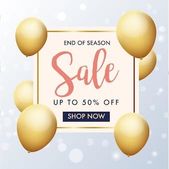Fim de banner de venda temporada com balões de ouro