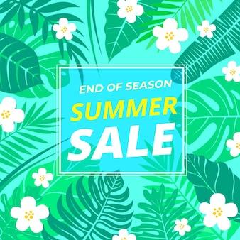 Fim de temporada verão venda banner com folhas