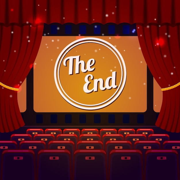 Fim do conceito de show. sala de cinema e teatro com poltronas, cortina e the end na tela.