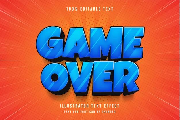 Fim do jogo, efeito de texto editável em 3d efeito de texto em quadrinhos com gradação azul