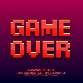 Fim do jogo, efeito de texto editável no estilo pixel