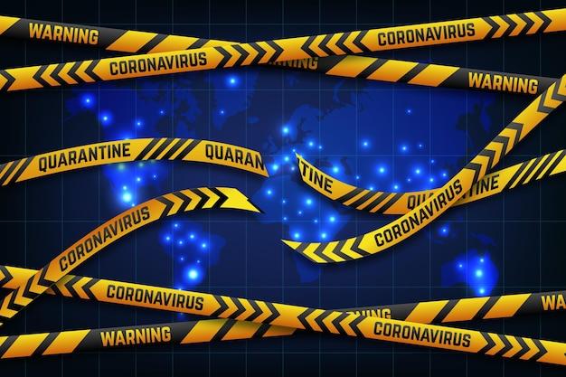 Fim do mapa mundial de fita de quarentena de coronavírus