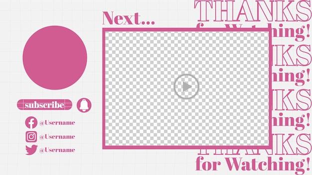 Finalizar sub media player de vídeo de mídia social design de modelo rosa