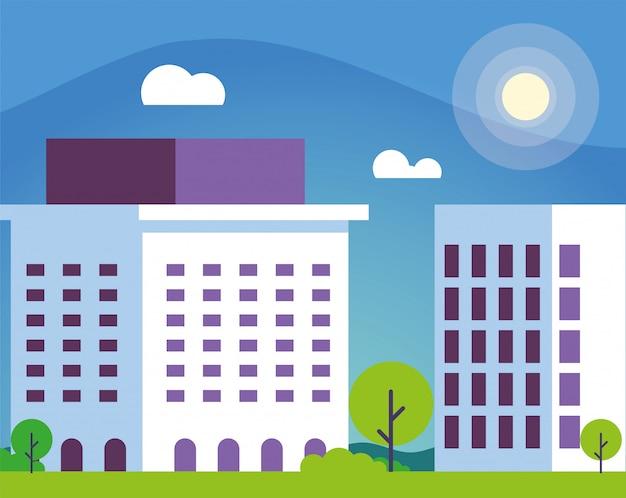 Finanças bancárias, edifício com paisagem urbana