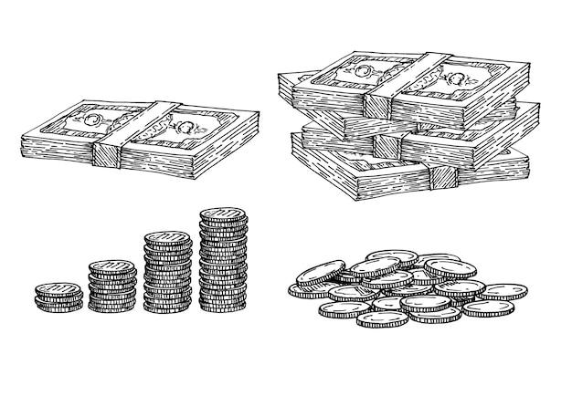 Finanças, conjunto de dinheiro. desenho de pilha de moedas, papel-moeda, moedas em posições diferentes.