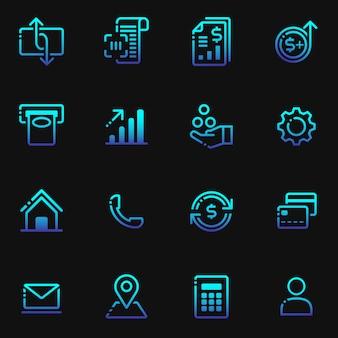 Finanças, conjunto de ícones de investimento