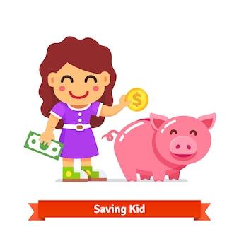Finanças das crianças e conceito de poupança
