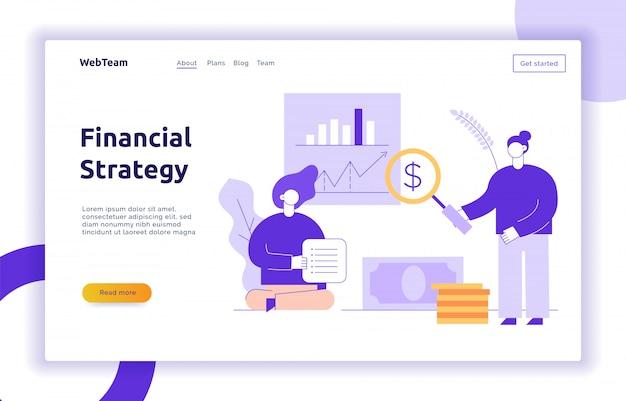 Finanças de vetor e banner de web de estratégia de negócios