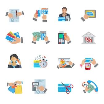 Finanças de vida de crédito e pagamento ícone plano conjunto