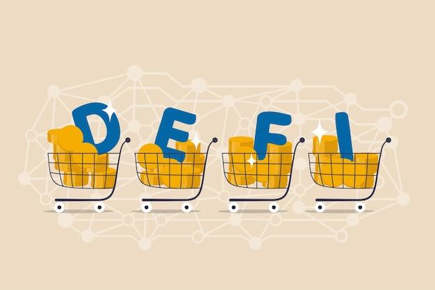 Finanças descentralizadas, nova tecnologia usando blockchain para bancos, dinheiro digital ou plataforma financeira e conceito de aplicativo, carrinho de compras com alfabetos defi em padrão de pontos de link descentralizado.