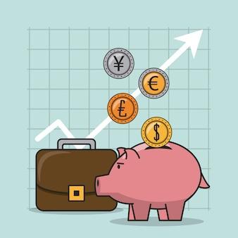 Finanças e negociação de desenhos animados