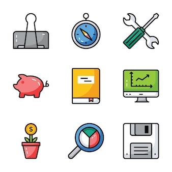 Finanças e negócios icons pack