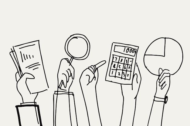 Finanças empresariais doodle vetor mãos segurando objetos