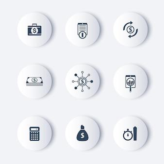Finanças, investimentos, fundos em torno de ícones modernos