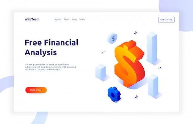 Finanças isométricas e banner de marketing