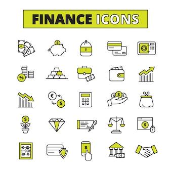 Finanças negócios seguros troca de dinheiro e salvar banco operações símbolos delineados pictogramas definir vetor abstrato isolado ilustração