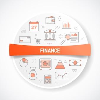 Finanças ou finanças com conceito com ilustração de forma redonda ou circular