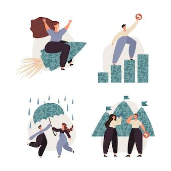 Finanças pessoais, economia de dinheiro, fundo de suporte de emergência, investimentos, seguros