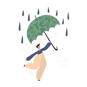 Finanças pessoais, economia de dinheiro, fundo de suporte de emergência, seguro
