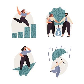 Finanças pessoais, poupança, fundo de apoio de emergência, investimentos, capital, seguros