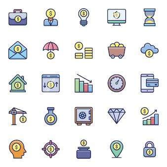 Finanças planas ícones