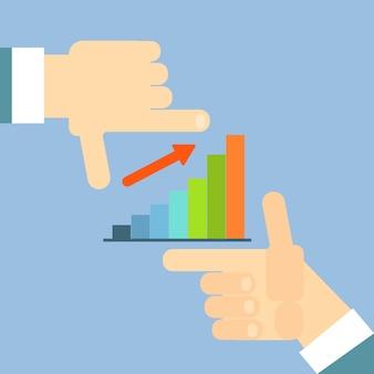 Financial chart bar arrow up negócios mão gráfico plana