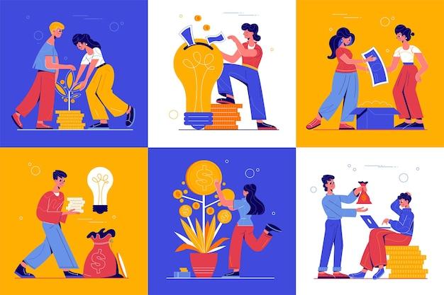 Financiamento coletivo de 6 composições coloridas de conceito com árvore do dinheiro em crescimento, obtendo notas, ideias lucrativas, ilustração de lâmpada