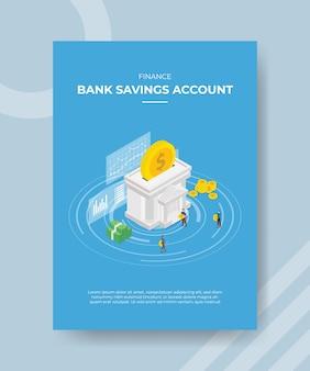 Financiar pessoas da conta poupança em pé ao redor do banco construindo moedas